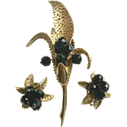 Rare 1946-53 Parco Large Lily Brooch Pin & Earring Set