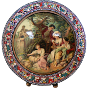 Vintage 1920's-30's Italian Micro Mosaic Geometric & Floral Small Picture Frame with Convex Renaissance Pastoral Scene Picture