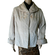 Vintage 1960's Gorgeous Genuine Beaver Sheared Taupe Blush Fur Jacket Coat Sz. 6-8
