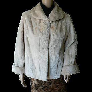 Vintage 1960's Gorgeous Genuine Sheared Taupe Blush Fur Jacket Coat Sz. 6-8