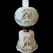 Antique Paneled Cosmos Miniature Oil Lamp