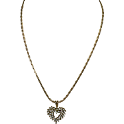 Vintage Crystal Rhinestone & Gold Filled Pendant Heart Necklace