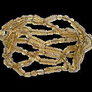 Art Deco 1920's Long Topaz Color Flapper Molded Beads