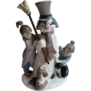 "Vintage Lladro Porcelain # 5713 Figural Grouping ""The Snowman"""