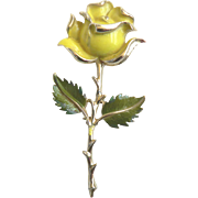 1960's Beautiful Enameled Yellow Rose Pin Brooch