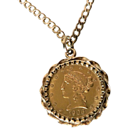 1906 Liberty Head Half Eagle Five Dollar Coin Pendant