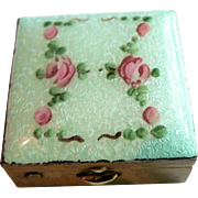 Vintage Guilloche Hand-Painted Rose Floral Pill or Trinket Box