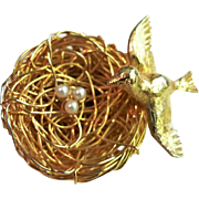 1950's Bird Nest, Bird & Faux Pearl Eggs Gold Plated Brooch Pin by Jeanne (Mark Dottenheim)