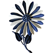 "1960's Enameled Signed ""HEDY"" Flower Power Cobalt Blue & White Pink Daisy Pin Brooch"