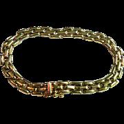 Vintage 14 Karat Yellow Gold Rectangular Link Bracelet 5.79 Grams