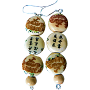 Vintage Sterling Silver & Asian Ceramic Flat Bead Dangle Pierced Earrings with Hand Painted Flowers & Calligraphy