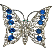 Vintage 1930's Art Deco Butterfly Pin Faux Sapphire Tone Open Back Crystals w/ a Rhodium Back LARGE