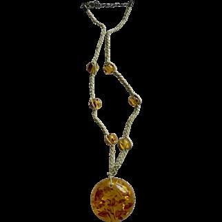 Estate Baltic Honey Amber Pendant & Bead Necklace on Natural Braided Fiber