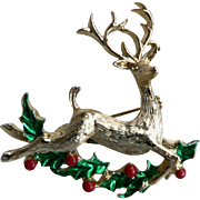 Vintage Signed Gerrys Reindeer Holly Christmas Holiday Pin