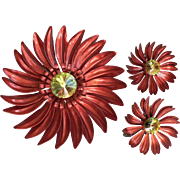 1960's Enamel Flower Power Pin w/ Matching Earrings Magenta Red & Rivoli Rhinestones Hold 4 Donna will pay 4/28/17