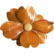 Fabulous 1960's Large Flower Power Dimensional Deep Gold Enamel Flower Brooch