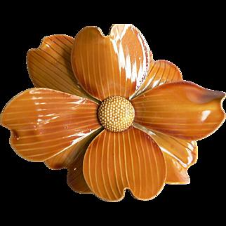 Fabulous 1960's Large Flower Power Dimensional Deep Gold Enamel Flower Brooch