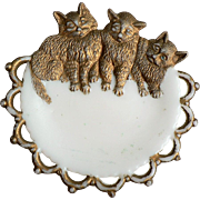 1900-1909 Westmoreland Three Kittens Cats Plate / Pin Tray
