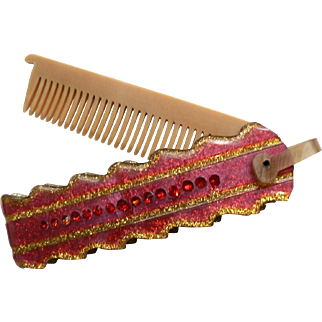 1950's RARE Red Lucite Gold Glitter & Red Rhinestone Fold-Up Pocket Vanity Comb