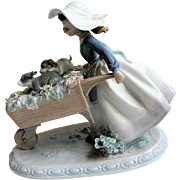 Retired Lladro Figurine BARROW OF FUN # 5460 Wheelbarrow, Puppies, Flowers & Girl