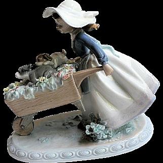 Retired Lladro Figurine BARROW OF FUN # 5460 Wheelbarrow, Puppies, Flowers & Girl
