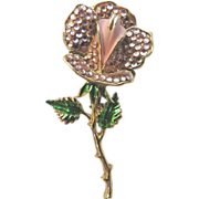 Weiss Paved Rhinestone & Enameled Open Rose Vintage Pin