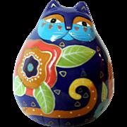 Colorful Laurel Burch Ceramic Floral Cat Bank