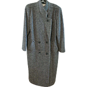 Vintage True MacIntosh Long Coat Herringbone Tweed 100% Wool Very Sharp Sz. 6