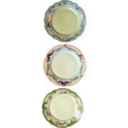 Beautiful Limoges Trio Porcelain Cabinet Plates Hand Painted Latrille Freres 1908-1913