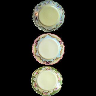 Beautiful Limoges Trio Porcelain Cabinet Plates Hand Painted Latrille Freres 1908-1913