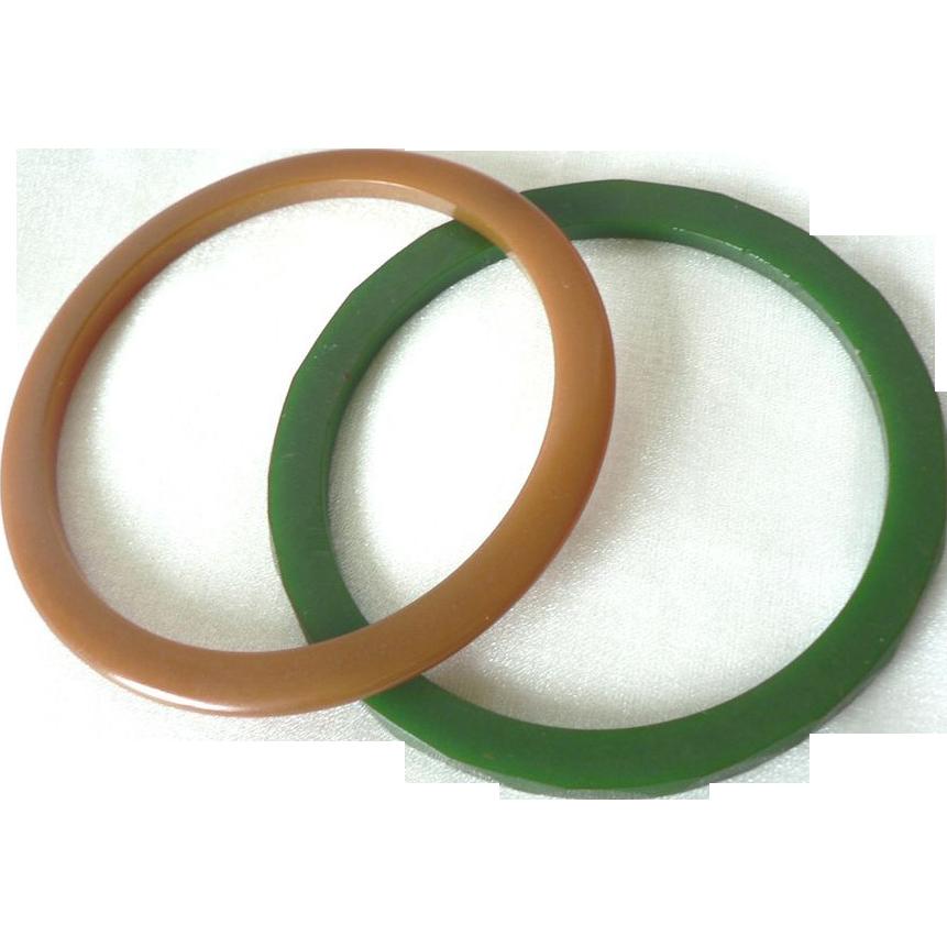 Vintage 1930's Bakelite Bangle Spacer Bracelets Green & Carmel