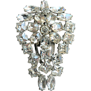 Large Art Deco 1920's-30's White Rhinestone Dress Clip