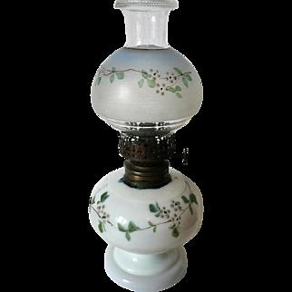 Antique Nellie Bly Miniature Oil Lamp Handpainted Circa 1880's