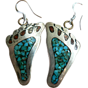 "1960's Hippy ""Hang Ten"" Feet Sterling Pierced Earrings with Turquoise & Coral Chip Inlay"