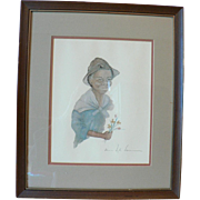"Vintage Artist Annie Lyle Viser Signed Professionally Framed Print "" Rachel "" Black Americana"