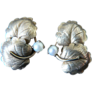 Vintage Estate George H. Fuller Gold Fill & Cultured Pearl Leaf Screw-On Earrings