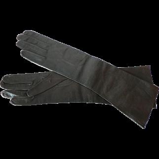 Vintage Deep Chocolate Brown Kid Skin Long Leather Gloves Sz. 6 1/4