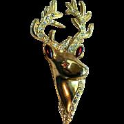 Spectacular Vintage Buck Deer Head Christmas Holiday Pin Rhinestones & Cabochons