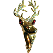 Spectacular Vintage Buck Deer Head Christmas Holiday Pin Rhinestones & Cabochons