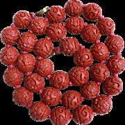 Vintage Chinese Dark Red Hand Carved Cinnabar Necklace