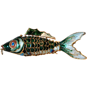 Gorgeous LARGE Chinese Koi Cloisonne Articulated Fish Pendant