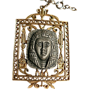 Vintage 1970's Signed Art Egyptian Revival King Tut Pharaoh Pendant Necklace Medallion