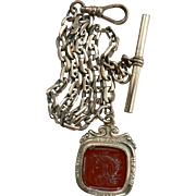 Antique Art Nouveau G.F. Pocket Watch Chain & Carnelian Roman Intaglio Fob