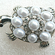 Vintage Turtle Faux Pearl & Rhinestone Pin Brooch Adorable!