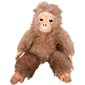 "15"" Vintage 1977 R. Dakin Co. Golden Brown Monkey Gorilla Stuffed Animal Plush Toy"