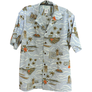 Vintage KOLEKOLE Hawaiian Aloha Shirt Mint Condition Steel Blue with Tropical Scenes Sz. L
