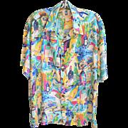 Vintage Kahala Hawaiian Shirt Tropical Colors Wine Bottle Advertising Rayon Sz. M Aloha