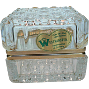 "Clear Crystal West Germany ""Westminster"" Trinket Box, Casket with Hinged Lid & Origianal Sticker"