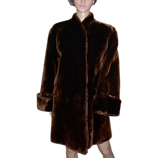 1930s Moulieres Paris France Dyed Mouton Lamb Fur Coat Gorgeous!
