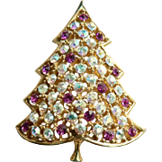 Vintage 1964 Hedison Mark Holiday Christmas Tree Rhinestone Pin Brooch